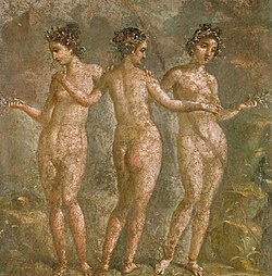 The Graces in a 1st century fresco at Pompeii.