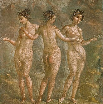 Charites - The Graces in a 1st-century fresco at Pompeii