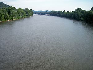 Marietta, Ohio - The Muskingum River near its mouth in downtown Marietta in 2007