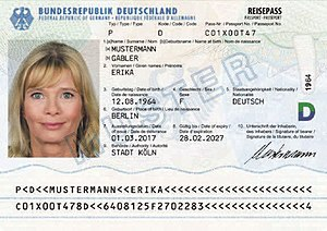 German passport - Signature page and data page of a contemporary German passport (March 2017)