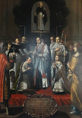 Kingdom of Mutapa - Baptism of king Siti of Mutapa by workshop of Tomasz Muszyński, 1683, Dominican Monastery in Lublin. The baptism of Siti Kazurukamusapa was celebrated by João de Mello on 4th August 1652, the feast day of St Dominic.