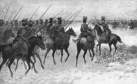 As irregular cavalry, the Cossack horsemen of the Russian steppes were best suited to reconnaissance, scouting and harassing the enemy's flanks and supply lines. Myrbach-Cossacks.jpg