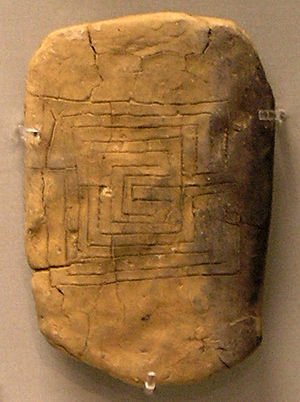 Allusion - Backside of a clay tablet from Pylos bearing the motif of the Labyrinth, an allusion to the mythological fight of Theseus and the Minotaur