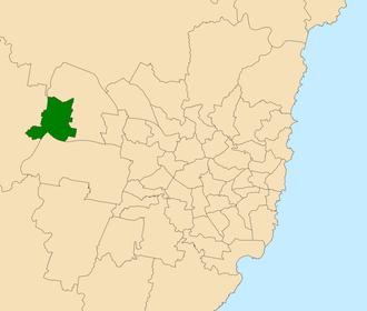 Electoral district of Penrith - Location within Sydney