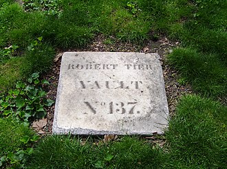 New York City Marble Cemetery - A marble marker, used for those vaults without monuments