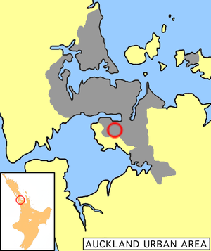Mangere's location within the Auckland urban area