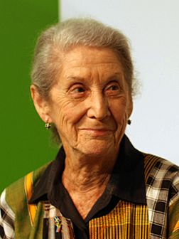Nadine Gordimer (photo de 2010), Sud-Africaine, lauréate du prix Nobel de littérature en 1991.