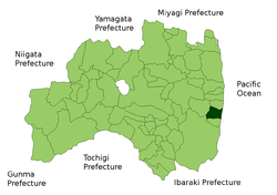 Location of Naraha in Fukushima