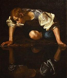 Narcissus by Caravaggio, 1597–1599, Galleria Nazionale d'Arte Antica (21836123485).jpg