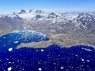 Narsaq - Aerial view of Narsaq and Narsaq Sound, April 2018