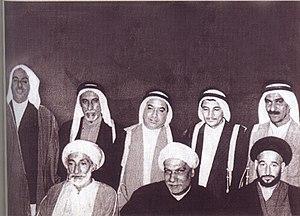 National Union Committee - NUC members in 1954, L-R (back): Alaiwat, Bin Mousa, Al Bakir, Fakhro, Shamlan; (front): Al Tajir, Abudeeb, Kamaluddin
