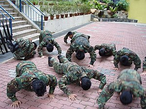 English: NCC (Land) cadets punished with Push-...