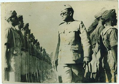 Netaji Subhas Chandra Bose Reviewing the Troops of Azad Hind Fauj - 1940's.jpg