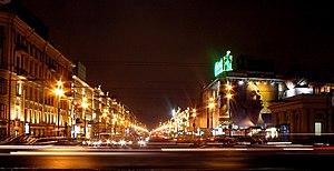 Nevsky Prospekt in Saint Petersburg at night.
