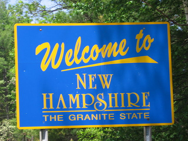 Close-up of New Hampshire state welcome sign