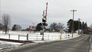 New Holland Secondary - Shows the level crossing of Norfolk Southern's New Holland Secondary over Peters Road in New Holland, Pennsylvania.