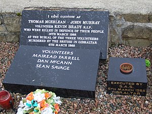 Milltown Cemetery attack - A memorial in Milltown Cemetery to the 'Gibraltar Three' and to the three men killed in the attack on their funeral
