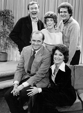 The Bob Newhart Show - Standing, from left: Howard Borden, Carol Kester, Jerry Robinson; seated: Bob and Emily Hartley