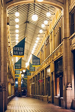 Nickels Arcade at night.jpg