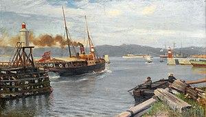 Nils Hansteen - Fjordabåt stevner ut Trondheim havn (1893)
