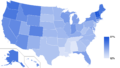 Nones by state 2014 (Pew Research Religious Landscape Study).png