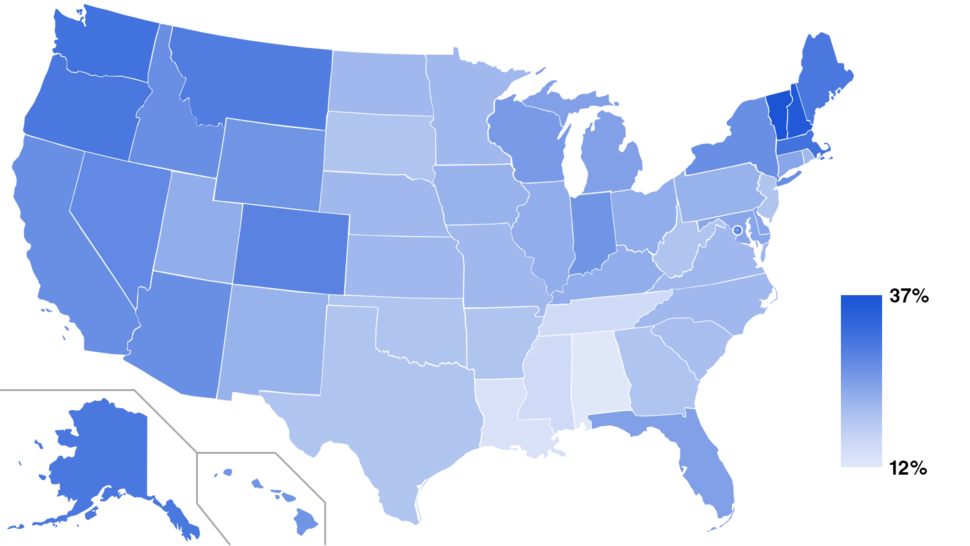 Nones by state 2014 (Pew Research Religious Landscape Study)