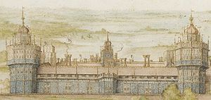 Artists of the Tudor court - Detail of Georg Hoefnagel's 1568 watercolour of the south frontage of Nonsuch Palace, one of the only two good images - which differ considerably. The stucco reliefs are shown in blue-ish grey.