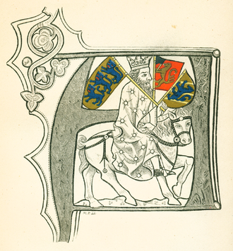 Flag of Norway - A depiction originally from ca 1370 of a Nordic king holding the historic emblems and coats of arms of Denmark, Norway, and Sweden.