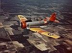 North American SNJ-1 trainer airplane in flight, circa 1941 (80-G-K-13549).jpg