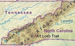 Art Loeb Trail - Image: North Carolina (location of Art Loeb Trail)