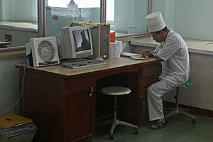 Pyongyang Maternity Hospital - A doctor working in an office.