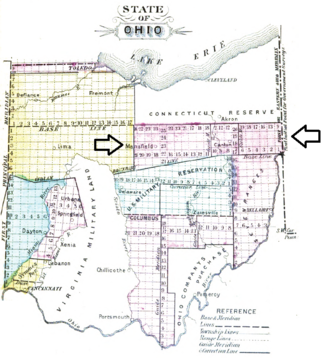 Congress Lands North of Old Seven Ranges - The Congress Lands North of the Old Seven Ranges lies between the arrows in Ohio