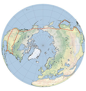 North Pole view of the Bering Strait