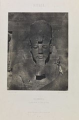 Nubie, Ibsamboul, Colosse Médial du Spéos de Phré, (Nubia, Abu Simbel, middle colossus from the temple of Rameses II) (3588907892).jpg