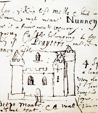 Nunney Castle - Drawing of Nunney Castle, 1644