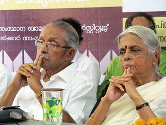 Sugathakumari - O. N. V. Kurup and Sugathakumari in September 2013