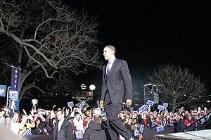 Barack Obama speaking at Sewell PArk