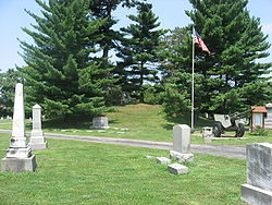 Odd Fellows' Cemetery Mound, southern side, closeup.jpg