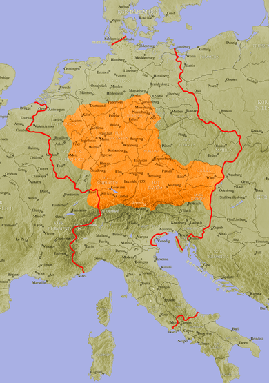 The Old High German speaking area around 950. OldHighGermanlanguagearea962.png