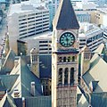 Old City Hall Clock tower from office building facing it.jpg