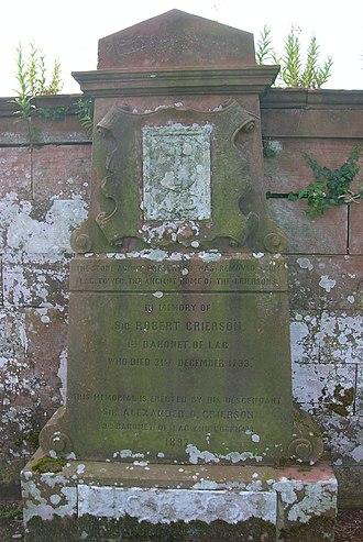 Sir Robert Grierson, 1st Baronet - Image: Old Dunscore Kirk and graveyard Cruel Lag memorial