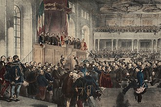 Hungarian Revolution of 1848 - 5 July 1848: The opening ceremony of the first parliament, which was based on popular representation. The members of the first responsible government are on the balcony.
