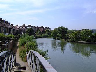 Osney Lock - Oxford shows its back to the river below Four Rivers