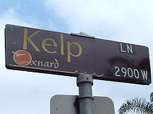 Customized street sign in Oxnard. Such designs are used for nearly every street sign in the city.