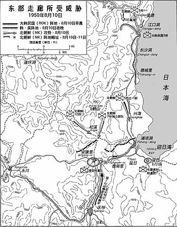 A map showing three large divisions of troops advancing through a line of opposing troops to the south