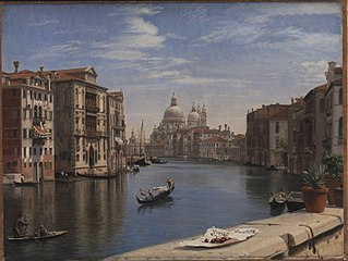 View of the Grand Canal, Venice. In the Background S. Maria della Salute