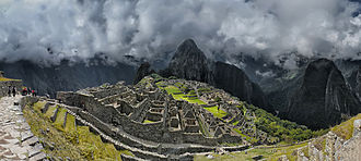Huayna Picchu - Panoramic view of Machu Picchu, with Huayna Picchu at the background