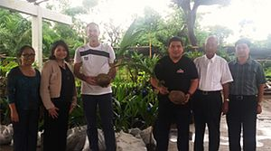 Thomas Dooley - Thomas Dooley (center left) with Philippine national team manager, Dan Palami (center right) along with officials from the Institute of Plant Breeding and Philippine Council for Agriculture, Aquatic, and Natural Resources Research and Development.
