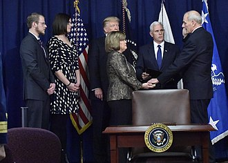 John F. Kelly - Kelly is ceremonially sworn in prior to President Trump's speech at DHS Headquarters on January 25, 2017. Kelly was actually sworn in five days prior.
