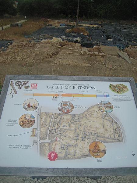Panneau sur les fouilles archéologiques de la villa gallo-romaine de Saint-Saturnin-du-Bois